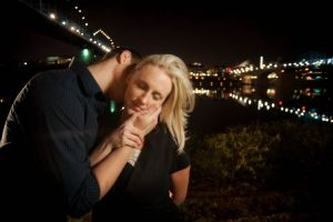 Chattanooga walking bridge, downtown Chattanooga at night - Engagement session